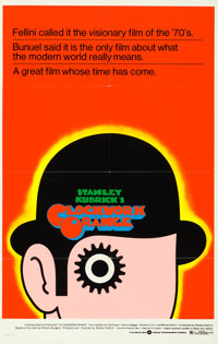 "A Clockwork Orange (Warner Brothers, 1973). One Sheet (26"" X 41"") Alternate ""R"" Style, David Pelham..."