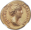 Ancients:Roman Imperial, Ancients: Diva Faustina Senior, wife of Antoninus Pius (died AD 140/1). AV aureus (20mm, 7.14 gm, 5h). NGC Choice XF 5/5 - 5/5....