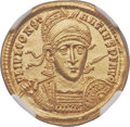 Ancients:Roman Imperial, Ancients: Constantius II (AD 337-361). AV solidus (21mm, 4.39 gm, 6h). NGC MS 5/5 - 4/5....