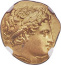 Ancients:Greek, Ancients: MACEDONIAN KINGDOM. Philip II (359-336 BC). AV stater(19mm, 8.61 gm, 6h). NGC MS 5/5 - 5/5, Fine Style....