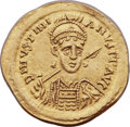 Ancients:Byzantine, Ancients: Justinian I the Great (AD 527-565). AV solidus (22mm, 4.32 gm, 6h). NGC Choice AU ★ 5/5 - 4/5....