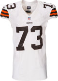 Football Collectibles:Uniforms, 2014 Joe Thomas Game Worn, Unwashed Cleveland Browns Jersey with Fanatics Label & Team Repair - Used 11/6 vs. Bengals Photo Ma...
