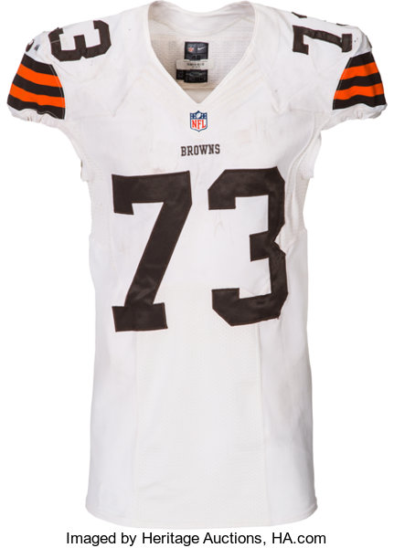 new concept 81fea 69feb 2014 Joe Thomas Game Worn, Unwashed Cleveland Browns Jersey ...