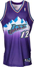 Basketball Collectibles:Uniforms, 2002-03 John Stockton Game Worn Utah Jazz Jersey Sourced from Team....