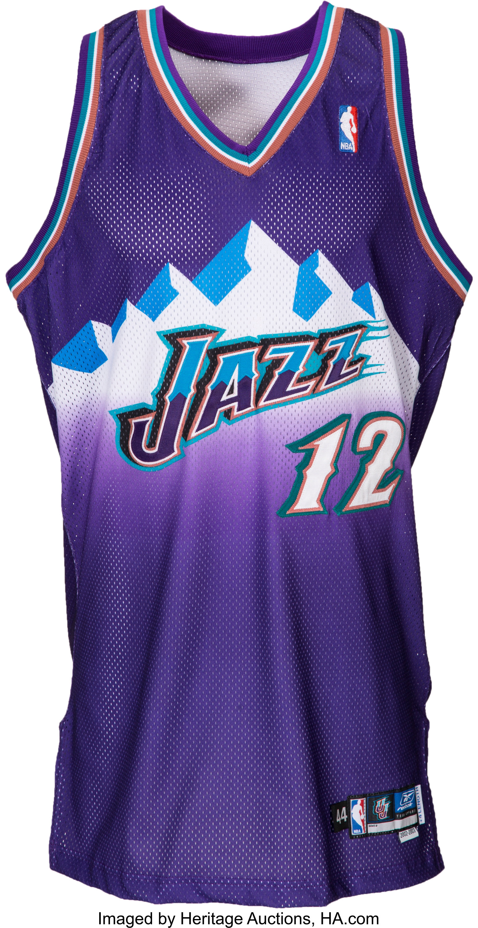 reputable site 427f2 34b0e 2002-03 John Stockton Game Worn Utah Jazz Jersey Sourced ...