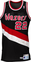 Basketball Collectibles:Uniforms, 1990-91 Clyde Drexler Game Worn Portland Trailblazers Jersey Giftedto Medical Assistant. ...
