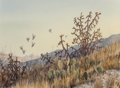 Fine Art - Work on Paper, Herb Booth (American, b. 1942). Quail Flying Over Cacti.Watercolor on paper. 13-1/2 x 21-1/2 inches (34.3 x 54.6 cm) (s...