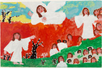 Sister Gertrude Morgan (American, 1900-1980) Another Angel Acrylic and pencil on paper 13 x 20 in