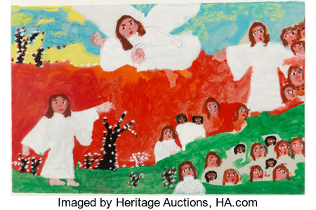 Sister Gertrude Morgan (American, 1900-1980) Another Angel Acrylic and pencil on paper 13 x 20 inches (33.0 x 50.8 cm...