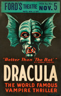 """Movie Posters:Horror, Dracula (Ford's Theatre, 1928). Stage Play Window Card (14"""" X 21.5"""").. ..."""