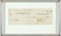 "Movie Posters:Drama, Greta Garbo (MGM, 1925). Twice Signed MGM Check (3.5"" X 8.5).. ..."