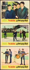 "Movie Posters:Rock and Roll, A Hard Day's Night (United Artists, 1964). Lobby Cards (3) (11"" X14"").. ... (Total: 3 Items)"