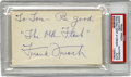 Autographs:Index Cards, Frank Frisch Signed Index Card. An impressive blue ink signature from the New York Giant and St. Louis Cardinal Hall of Fam...