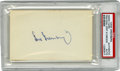 Autographs:Index Cards, Hank Greenberg Signed Index Card. Detroit Tiger HOFer HankGreenberg's signature in blue ink on plain index card slabbed by...