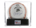 Autographs:Baseballs, Cal Ripken, Jr. Single Signed Baseball, PSA Mint+ 9.5. The IronMan's side panel signature appears on a special OAL (Budig)...