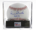 "Autographs:Baseballs, Robin Roberts Single Signed Baseball, PSA NM-MT 8. The superstarPhiladelphia Phillies pitcher adds a desirable ""HOF 76"" in..."