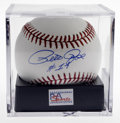 Autographs:Baseballs, Pete Rose Single Signed Baseball, PSA Mint 9. Charlie Hustle maynot be in the Hall, but there's little chance he'll ever a...
