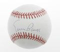 Autographs:Baseballs, Ernie Banks Single Signed Baseball. The 500 Home Run Clubsteroffers a 10/10 blue ink signature on the sweet spot of an ONL...