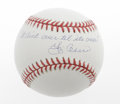 "Autographs:Baseballs, Yogi Berra ""It Ain't Over..."" Single Signed Baseball The wise andwacky Hall of Fame catcher applies his most famous quote ..."