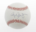 Autographs:Baseballs, Roger Clemens Single Signed Baseball. Strong sweet spot signaturefrom the Rocket graces this OAL (Brown) ball. With the f...