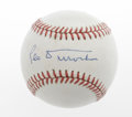 Autographs:Baseballs, Leo Durocher Single Signed Baseball. Leo the Lip applies his 9/10blue ink signature to the sweet spot of an ONL (White) ba...