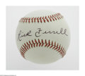 Autographs:Baseballs, Rick Ferrell Single Signed Baseball. OAL (Brown) baseball offers10/10 black ink sweet spot signature from the Hall of Fame...