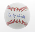 Autographs:Baseballs, Carl Hubbell Single Signed Baseball. The HOF New York Giantspitcher of 1930s and 40s prominence has added a strong sweet s...