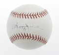 Autographs:Baseballs, Reggie Jackson Single Signed Baseball. Mr. October applies hisEX-MT signature to the sweet spot of an OML baseball. Reggi...