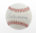 Autographs:Baseballs, Ted Williams Single Signed Baseball. The Boston Red Soxultra-legend applies his 10/10 blue ink signature to the sweetspot...