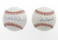 Autographs:Baseballs, Stan Musial & Brooks Robinson Single Signed Baseballs. A pairof Hall of Fame singles for your collection. Musial is on an...(Total: 2 Items)