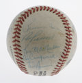 Autographs:Baseballs, Brooklyn/Los Angeles Dodgers Multi-Signed Baseball. Many heroicBums here, as a somewhat worn but still attractive ONL (Fee...