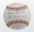 Autographs:Baseballs, Hall of Famers & More Multi-Signed Baseball. The greatest inthe game's history converge to share space on an OAL (Brown) b...