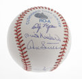 Autographs:Baseballs, Hall of Fame Pitchers Multi-Signed Baseball. Representing everyhitter's nightmare is this OML baseball signed by nine of t...