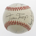 Autographs:Baseballs, Old Timers Multi-Signed Baseball with Mays. Some big name Hall ofFamers on this OAL (Brown) ball, with eleven signatures t...