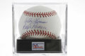Autographs:Baseballs, Bobby Thomson/Ralph Branca Signed Baseball, PSA NM-MT+ 8.5 A pairof baseball foes joined together forever by a single hist...