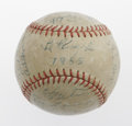 Autographs:Baseballs, 1955 Cincinnati Reds Team Signed Baseball. Twenty-nine blue inksignatures on a team logo ball include a sweet spot Kluszew...
