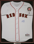 Autographs:Jerseys, Curt Schilling Signed Jersey. The tough as nails hero of the BostonRed Sox' World Championship run applies his 10/10 blue ...
