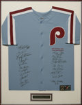 Autographs:Jerseys, 1980 Philadelphia Phillies Team Signed Jersey. The WorldChampionship squad reunited to apply twenty-one flawless blacksha...