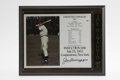 Autographs:Others, Joe DiMaggio Signed Induction Day Plaque. Informational sheet withphotograph of Joltin' Joe bears the official MLB logo an...