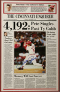 Autographs:Others, Pete Rose Signed Large Newspaper. Actually a large photographicprint of the front page of the September 12, 1985 Cincinnat...