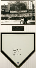 Autographs:Others, Don Larsen & Yogi Berra Signed Home Plate Display. Astoundingdisplay pairs a home plate signed by the 1956 World Series Ga...