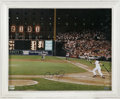 "Autographs:Photos, Cal Ripken, Jr. Signed Large Photograph. A magnificent 16x20"" shotof Cal taking a swing during his record-breaking 2,131st..."