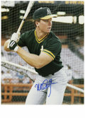 Autographs:Photos, Mark McGwire Signed Photographs Lot of 2. Two identical battingpractice photographs of Big Mac from his earlier days with ...