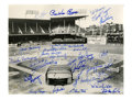 Autographs:Photos, Brooklyn Dodgers Team Signed Photograph. Taken from the seatsbehind home plate at the legendary Ebbets Field is this beaut...