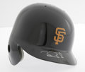 Autographs:Others, Barry Bonds Signed Batting Helmet. Flawless silver sharpiesignature graces the visor of this Authentic MLB Diamond Collect...