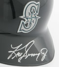 Autographs:Others, Ken Griffey, Jr. Signed Batting Helmet. Perfect silver sharpiesignature is tagged on the visor of this Authentic MLB Diamo...