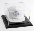 """Autographs:Others, Mickey Mantle Signed Hat. White cotton baseball cap has the Mantlelogo on the front with a baseball in blue with a white """"..."""