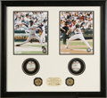 Baseball Collectibles:Balls, 2003 ALDS Game Used Baseballs Display. The pitching motions of superstar moundsmen Pedro Martinez and Tim Hudson are captur...