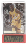 Basketball Collectibles:Others, Shaquille O'Neal Signed Cards Lot of 3. Three excellent signedcards from early in Shaq's career. Classic Games' promotion...