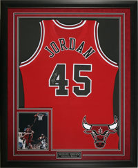 Michael Jordan Signed #45 Jersey. Perhaps the most gorgeous Jordan signed jersey display on earth, pairing the very desi...